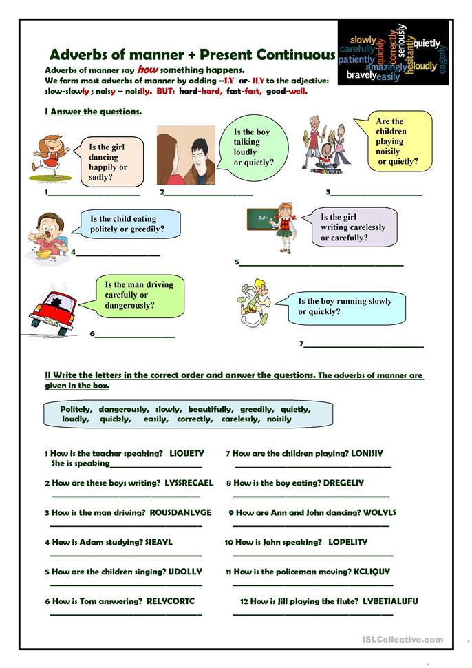 Adverbs of manner + Present Continuous - ESL worksheets