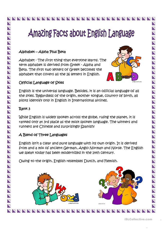 Amazing facts about English language worksheet - Free ESL ...