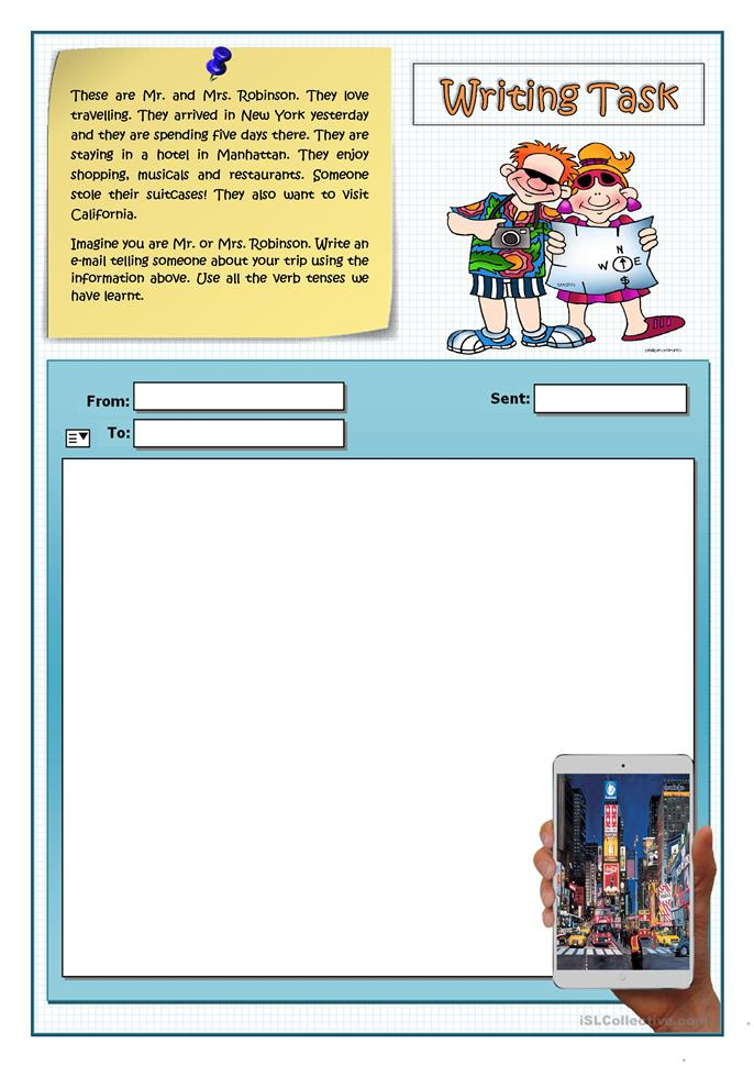 AN E-MAIL FROM NEW YORK - ESL worksheets