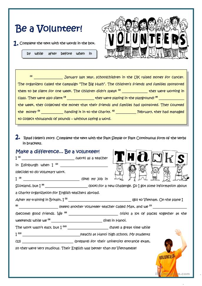 BE A VOLUNTEER - PAST TENSES worksheet - Free ESL ...