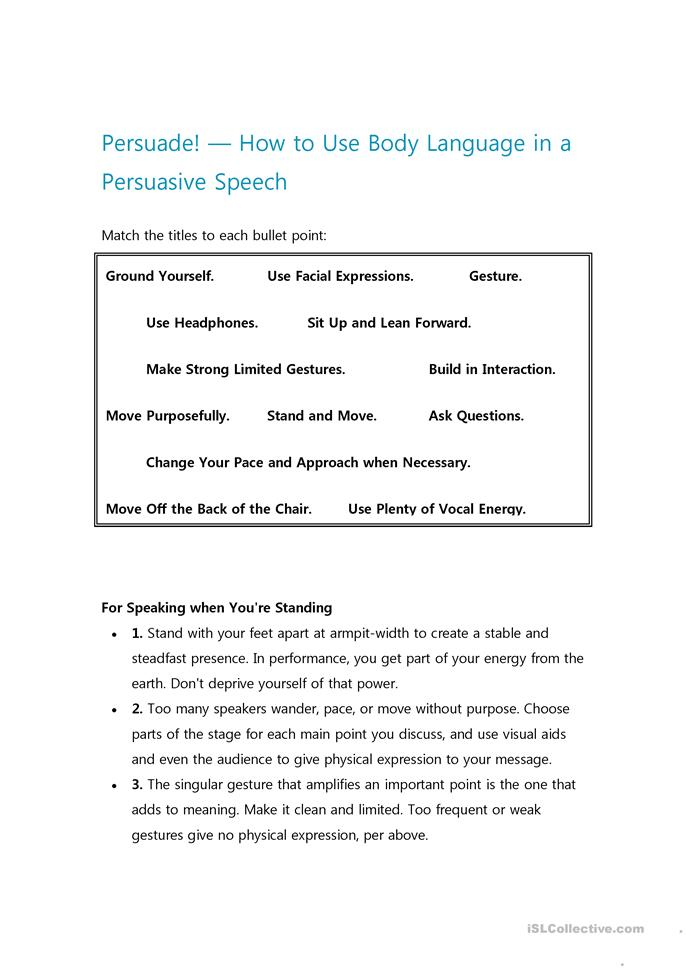 Worksheets Public Speaking Worksheets 6 free esl public speaking worksheets body language for persuasive speech