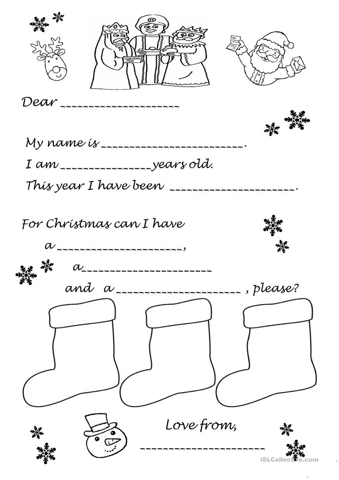 7 FREE ESL Father Christmas worksheets
