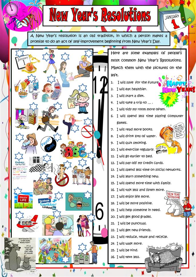 New Year's Resolutions - ESL worksheets