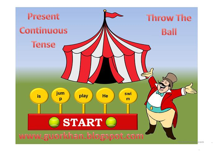 present continuous tense game - ESL worksheets