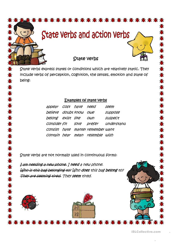 State verbs and action verbs - ESL worksheets