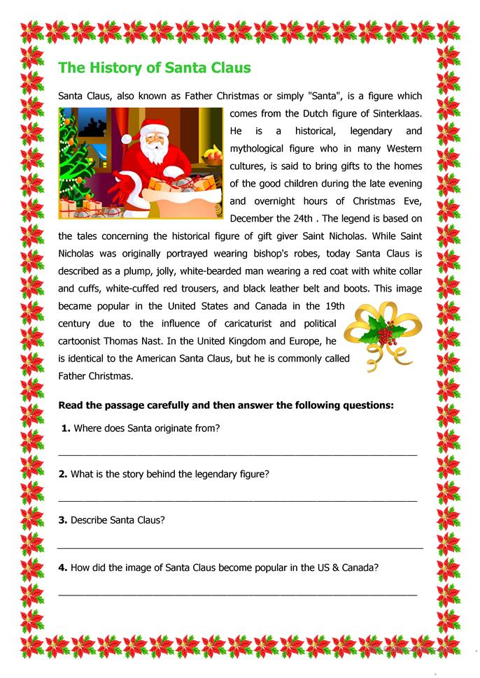 Printables Christmas Comprehension Worksheets the history of santa claus worksheet free esl printable worksheets made by teachers