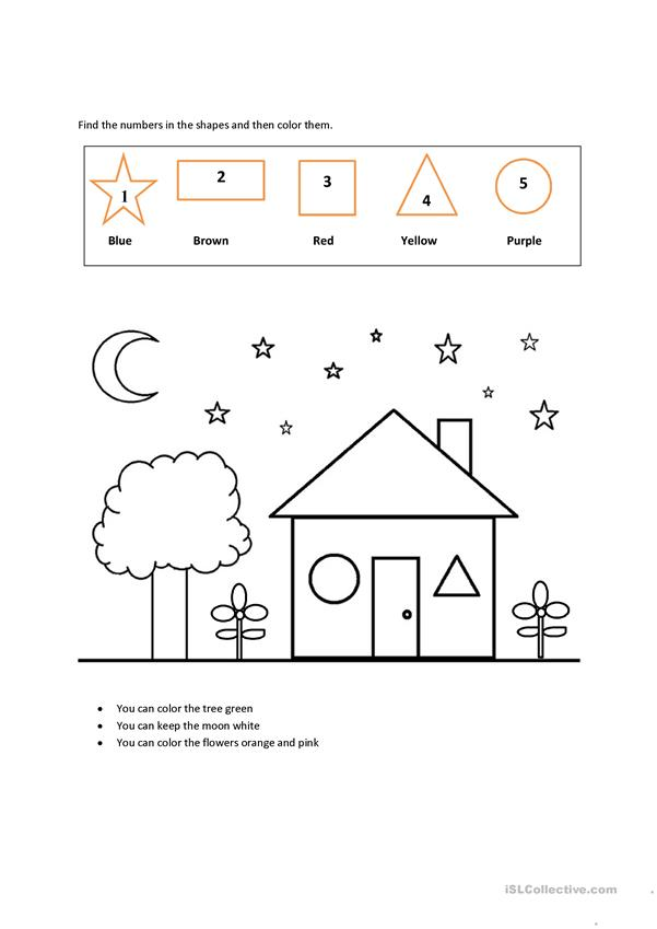 colors shapes numbers english esl worksheets for