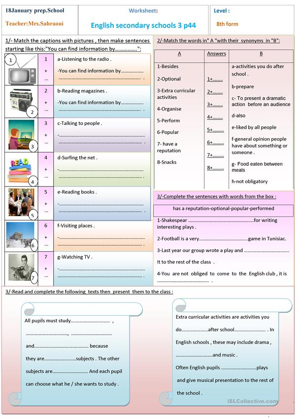 English Secondary Schools 3 - English ESL Worksheets For Distance Learning  And Physical Classrooms
