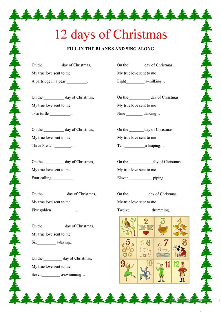 12 days of christmas ordinal numbers - 12 Days Of Christmas Dates