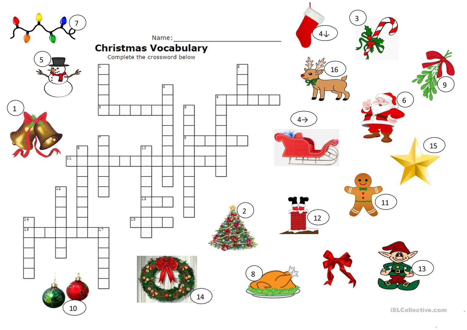 picture about Christmas Crosswords Printable titled Xmas Crossword - English ESL Worksheets