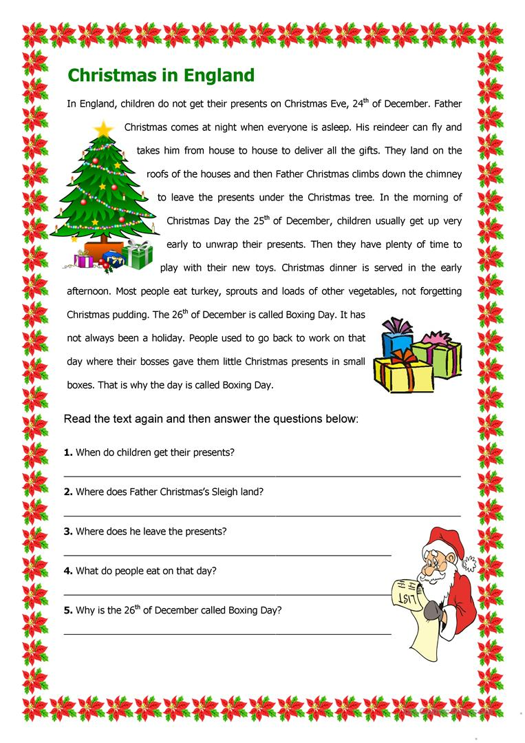Worksheets Christmas Reading Comprehension Worksheets christmas in england worksheet free esl printable worksheets full screen