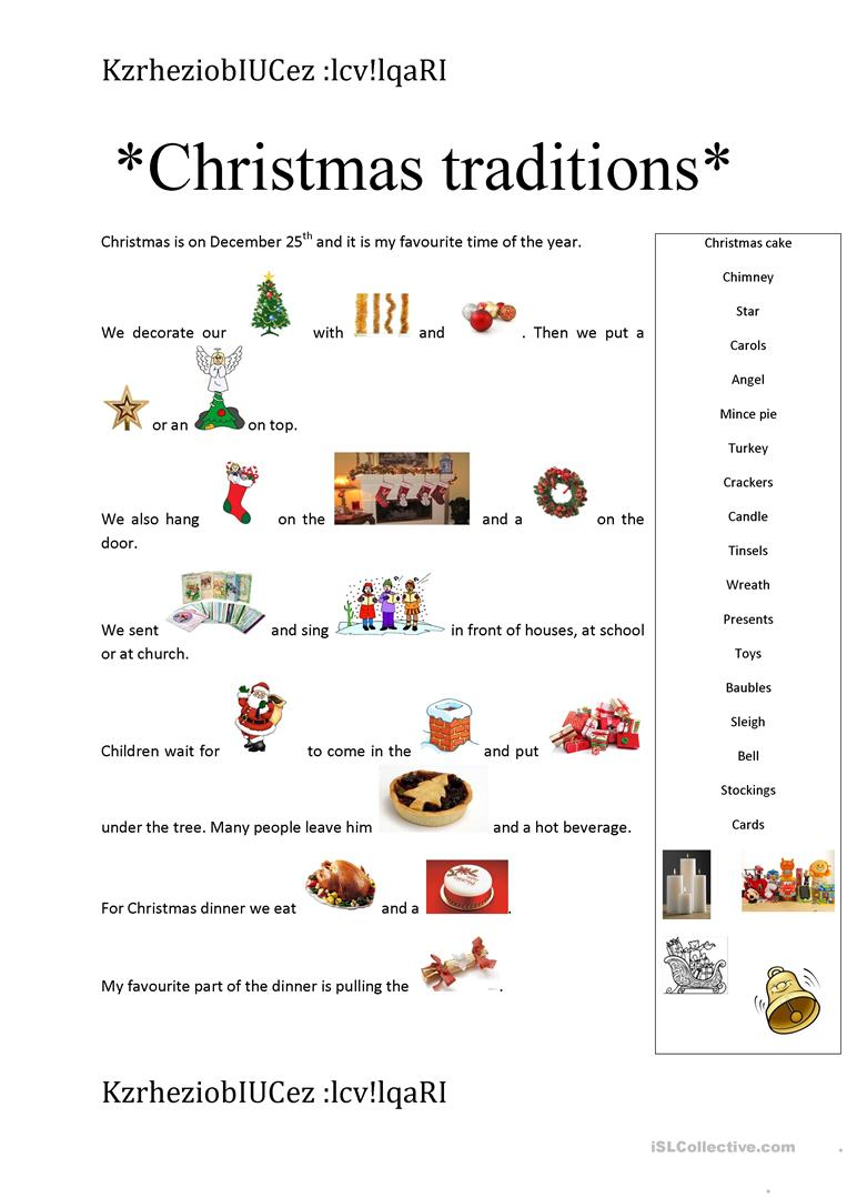 English Christmas Traditions.Christmas Traditions English Esl Worksheets