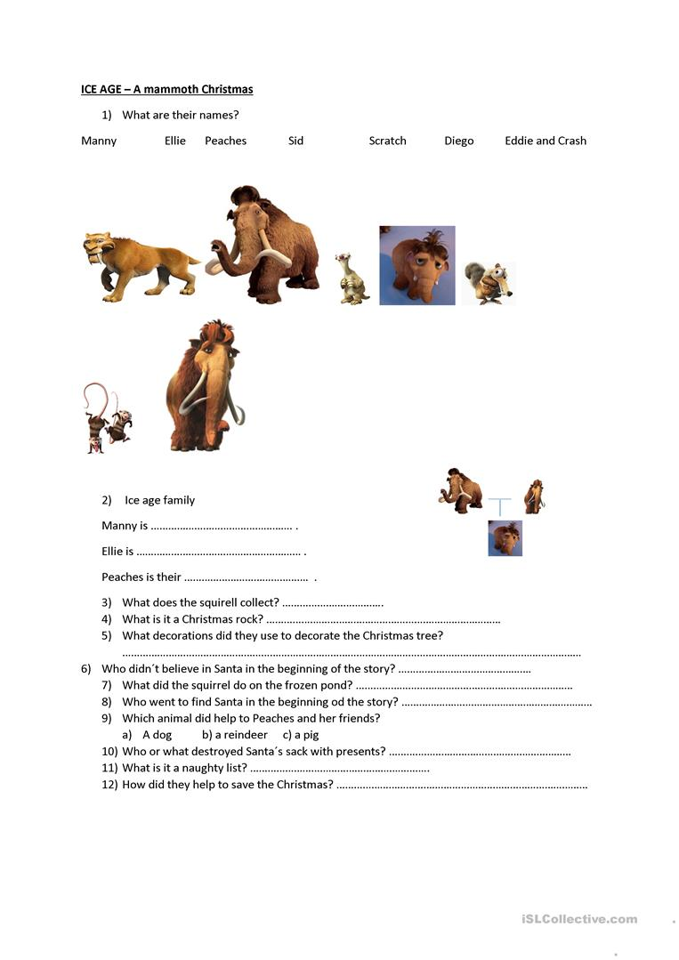 Ice Age - A mammoth Christmas worksheet - Free ESL printable ...