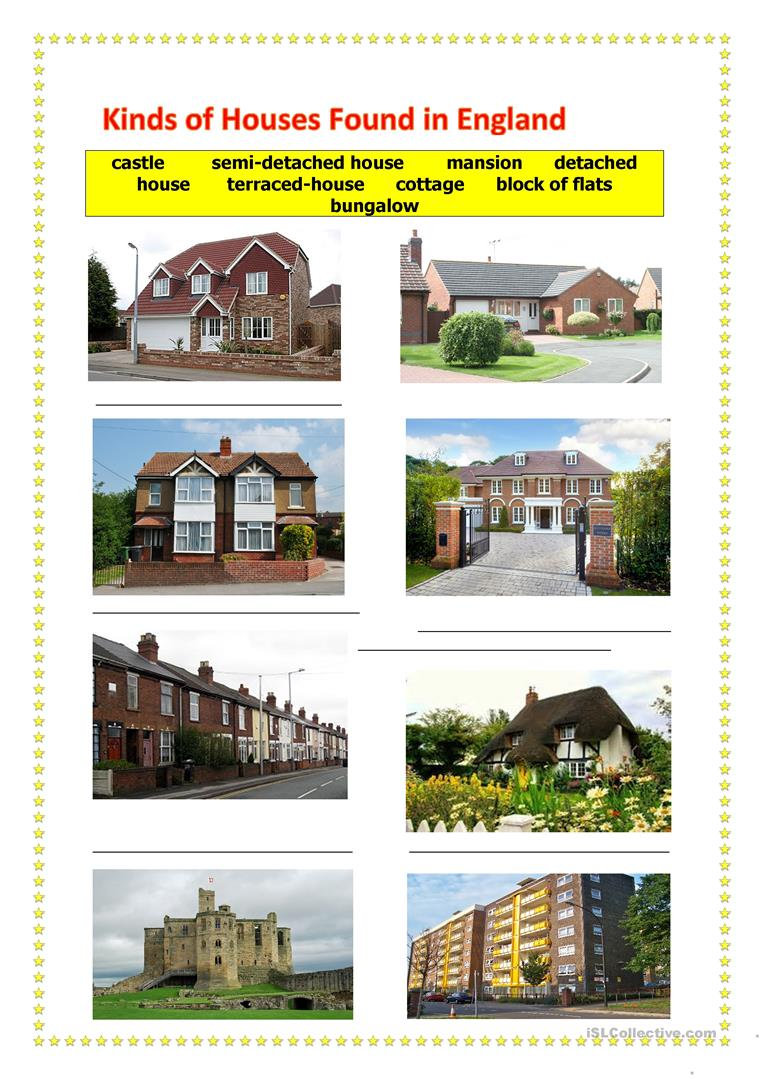 Kinds of houses found in england worksheet free esl for Different kinds of homes