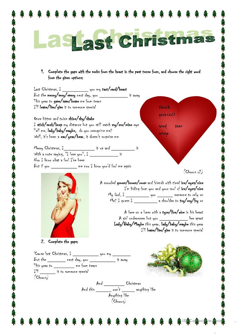 17 FREE ESL christmas songs worksheets