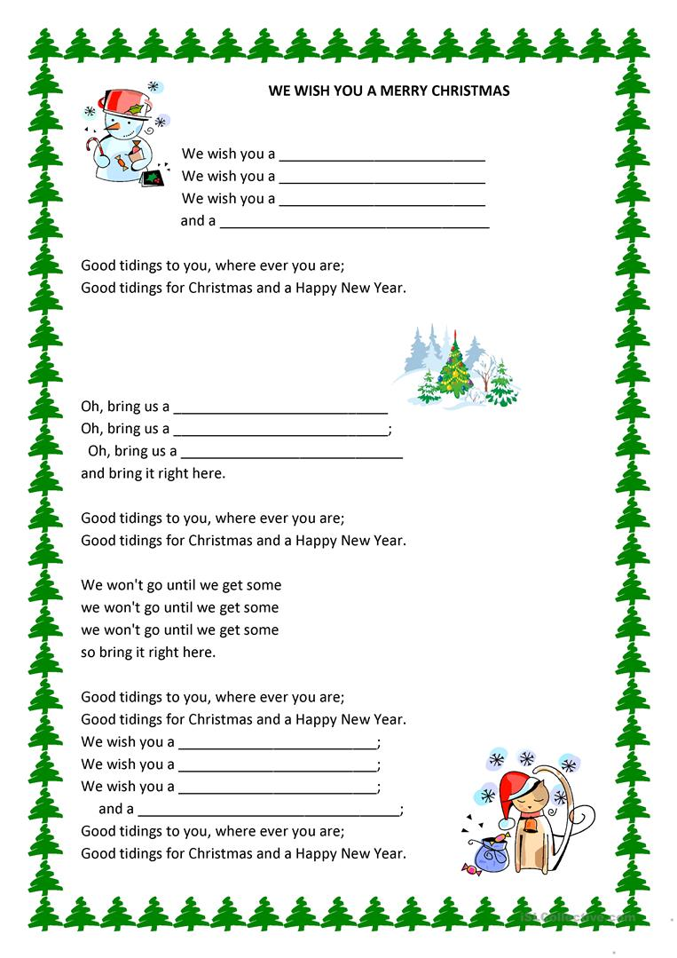We Wish You a Merry Christmass Gap filling worksheet - Free ESL ...