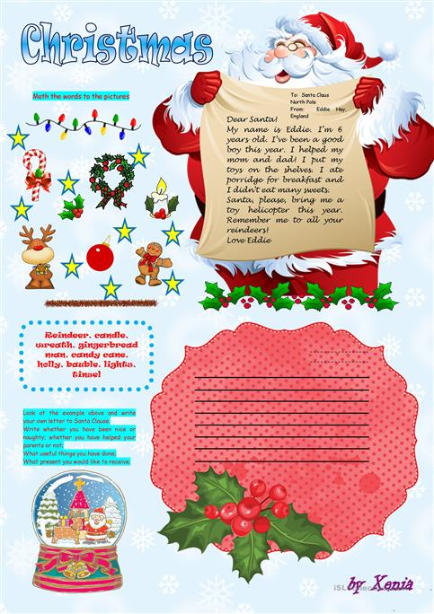Christmas letter worksheet free esl printable worksheets made by christmas letter spiritdancerdesigns Image collections