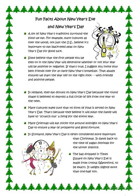 Fun Facts About New Year\'s Eve and New Year\'s Day worksheet - Free ...