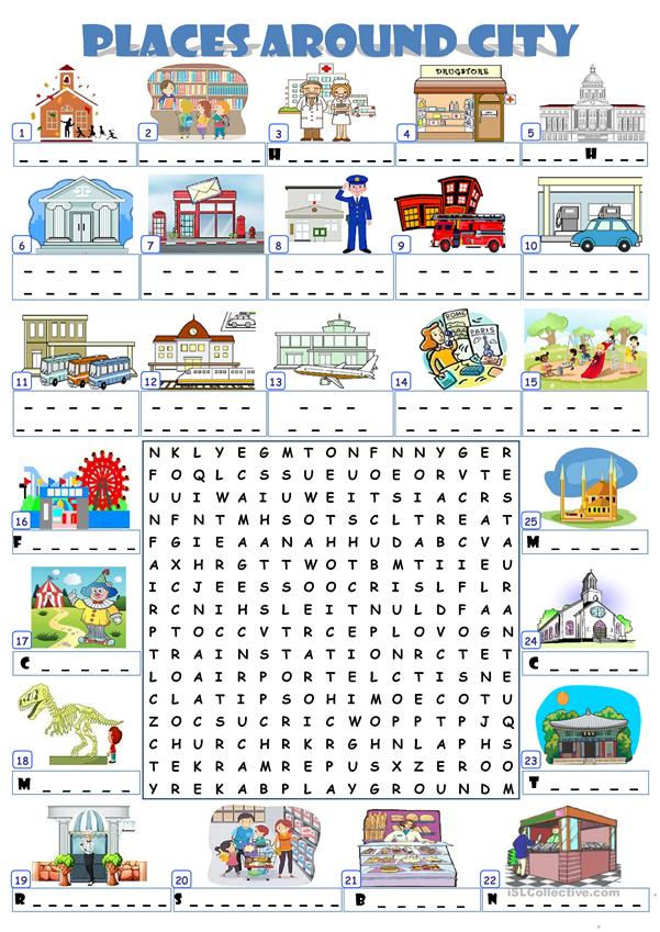 CITY PLACES - WORDSEARCH
