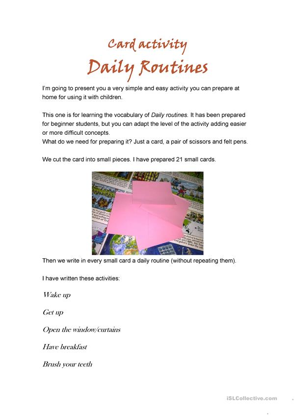 Daily routines - Card activity