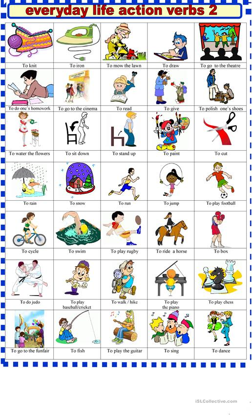 Everyday  life action verbs 2