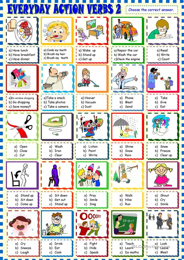 Everyday  life action verbs multiple choice 2