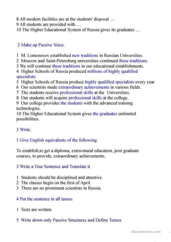 Higher Education in Russia.Passive Voice.