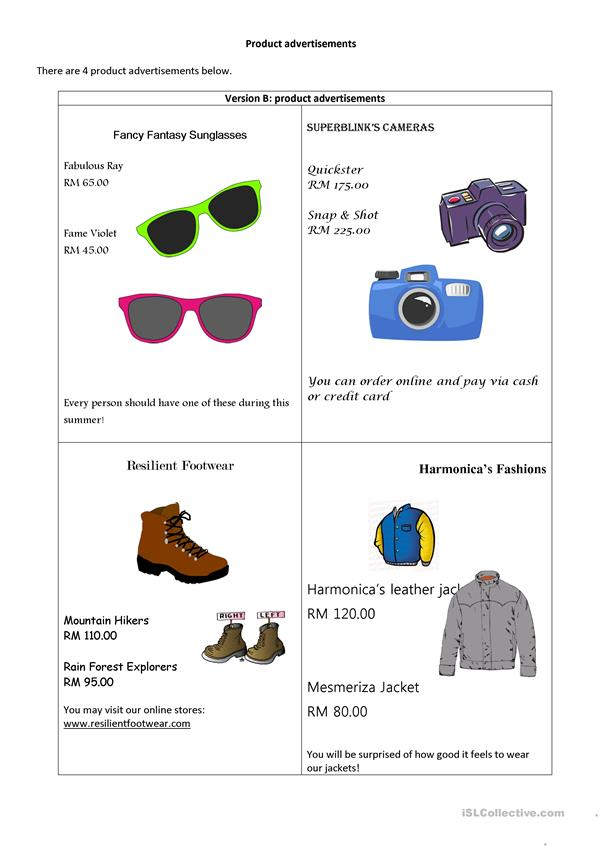 Information gap task 4/7: shopping/products