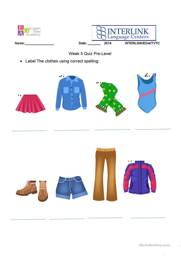 Label Clothes Quiz/Worksheet Beginners A1