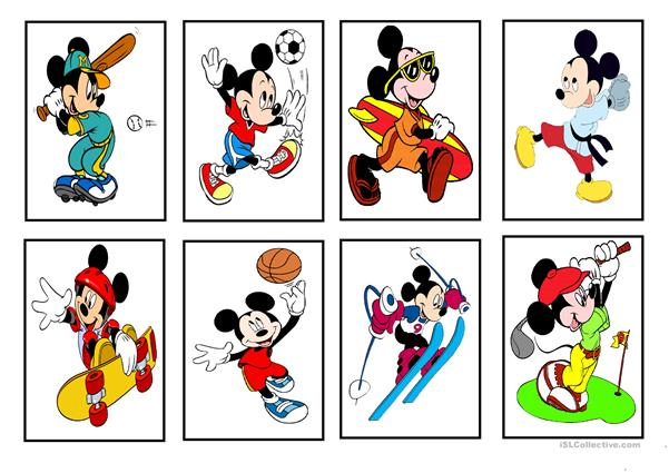 Mickey and Minnie Mouse - Sports (cards)