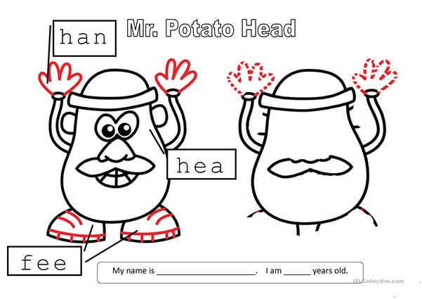 photo regarding Mr Potato Head Printable Parts referred to as Mr Potato Mind - English ESL Worksheets