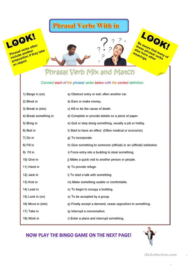 Phrasal verbs with in