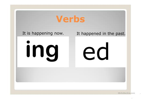 Present continuous verbs and past verbs