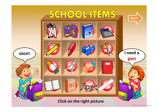 SCHOOL ITEMS QUIZ