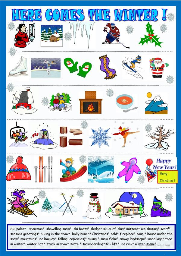 Winter, pictionary and matching