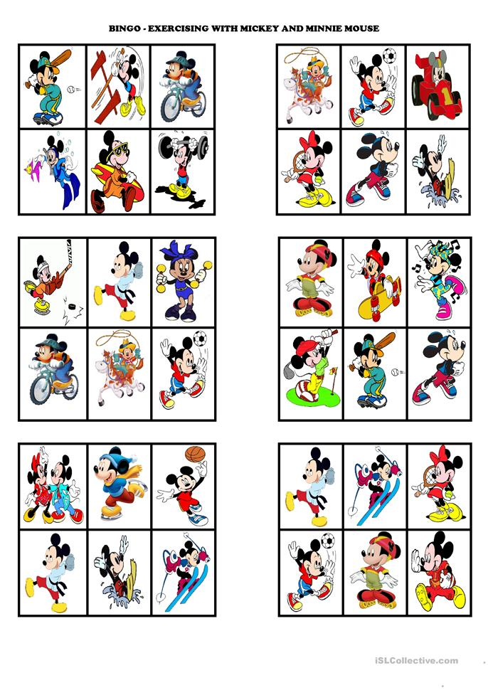"BINGO - ""Exercising with Mickey and Minnie Mouse"" - ESL worksheets"