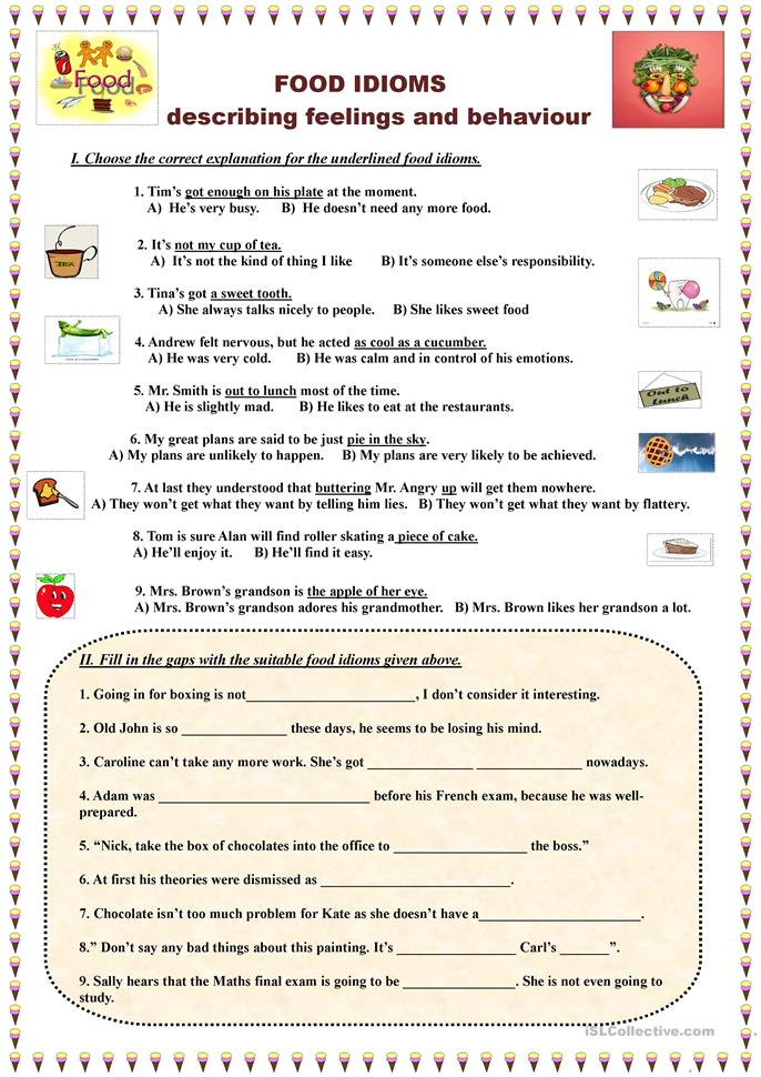 Worksheets Worksheet Idioms Food 21 free esl food idioms worksheets describing feelings and behaviour