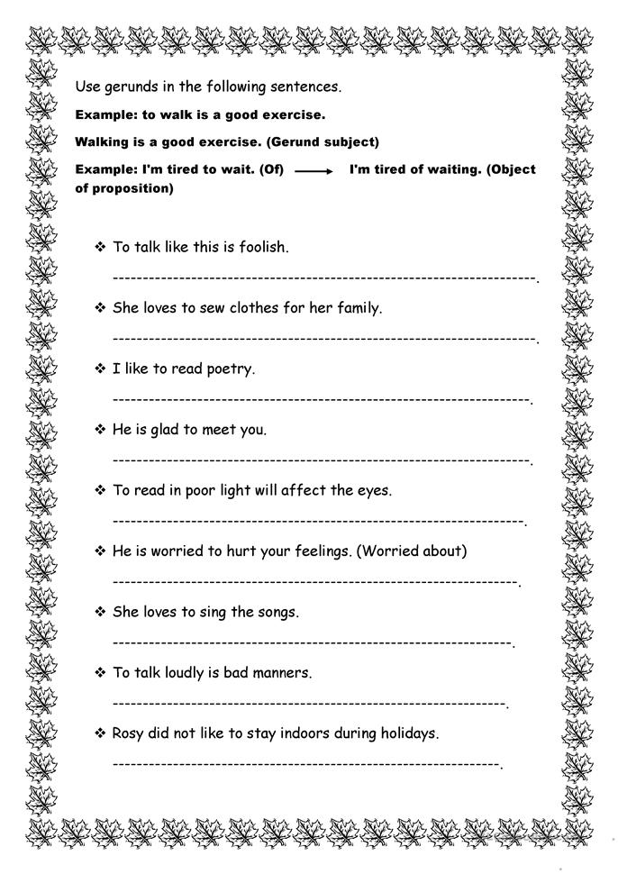 Worksheets Gerund Phrase Worksheet 34 free esl gerunds worksheets gerund