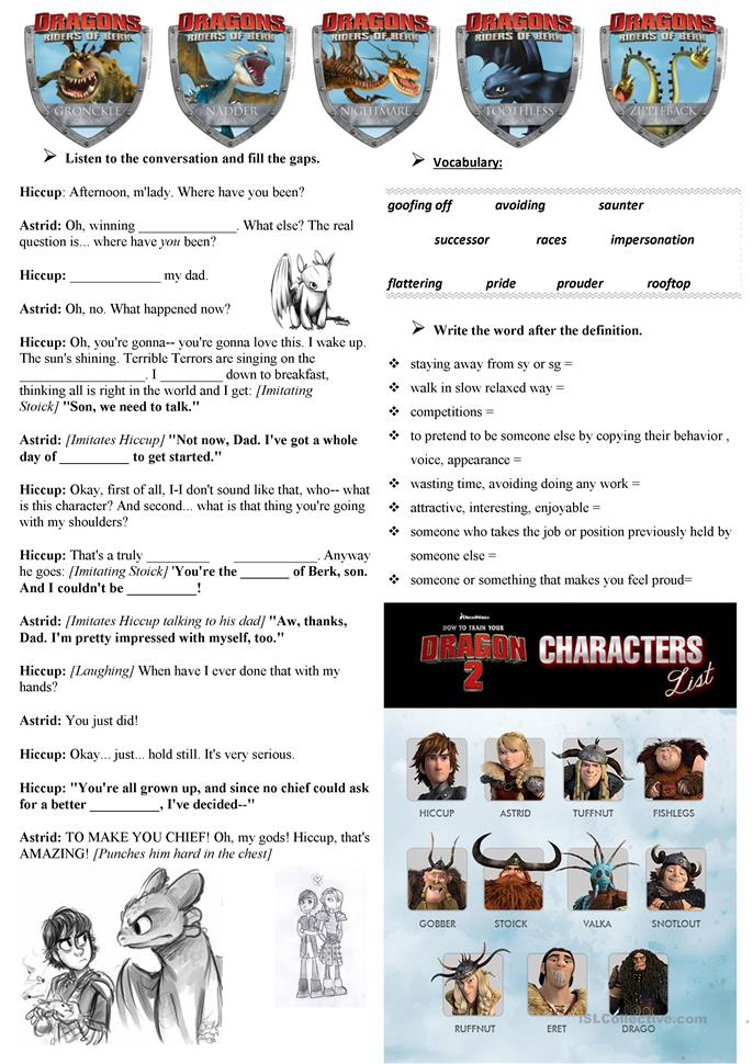 how to train your dragon worksheet pdf