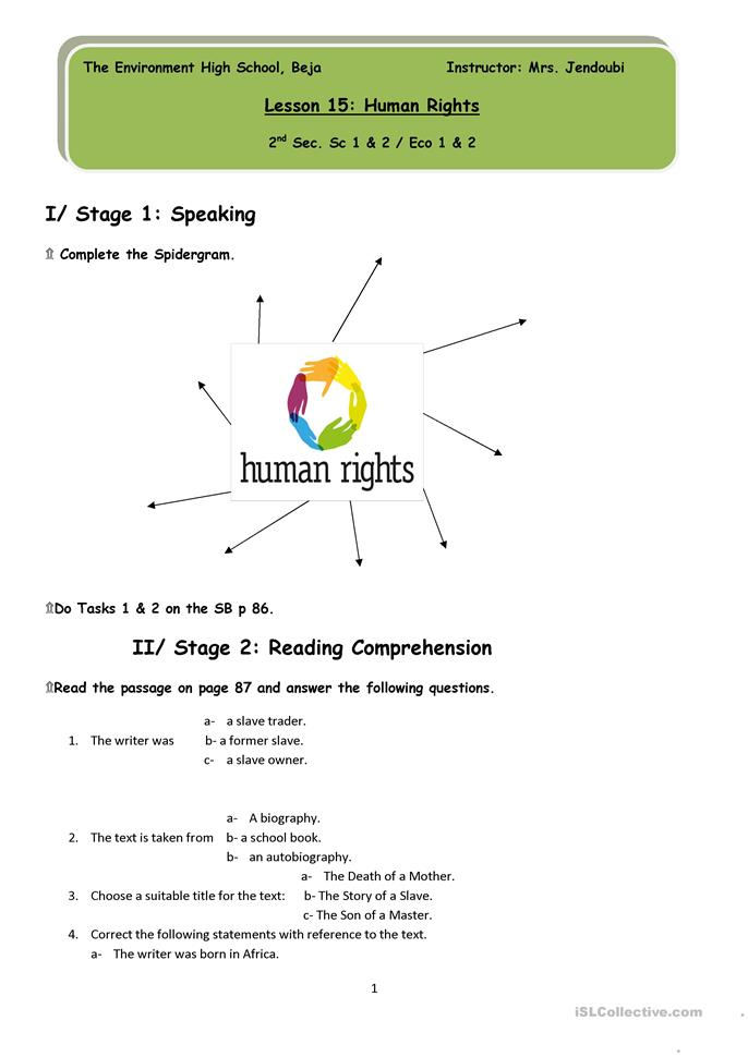 Printables Racism Worksheets 11 free esl human rights worksheets rights