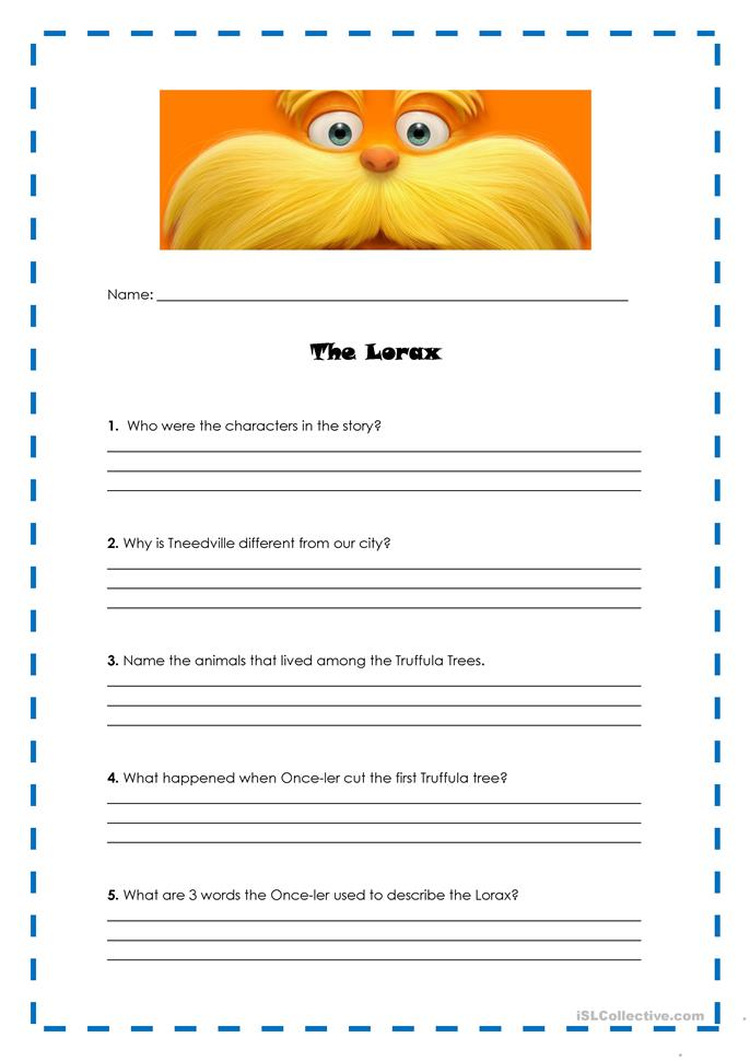 Printables Lorax Worksheets the lorax activity worksheet free esl printable worksheets made by teachers