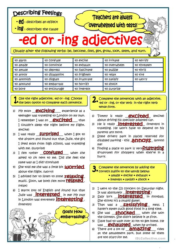 adjectives ending in ed and ing exercises pdf
