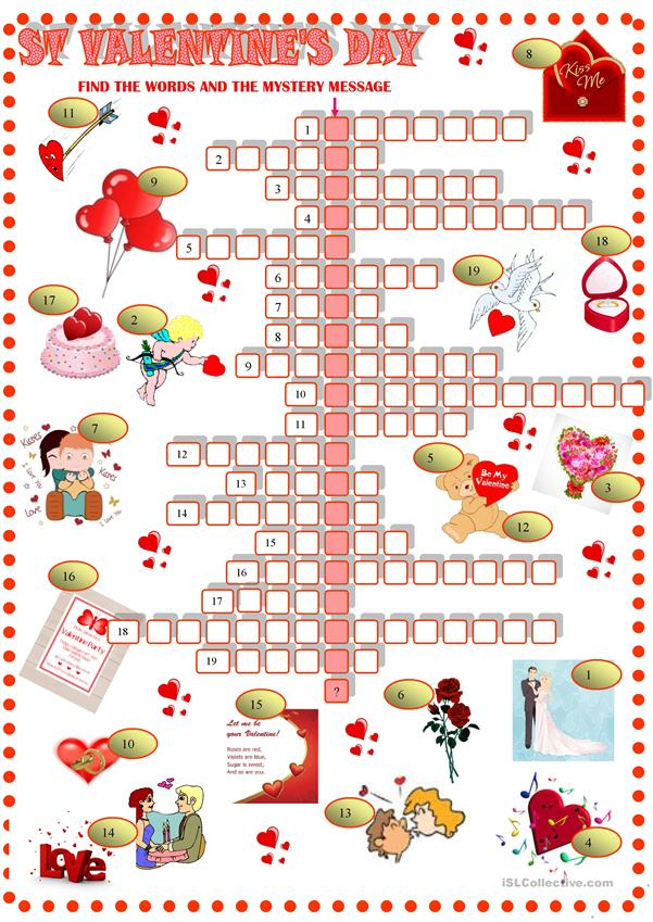 image relating to Valentine Crossword Puzzle Printable named St Valentines working day : Crossword with solution - English ESL Worksheets