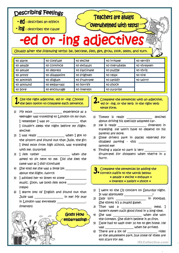 ADJECTIVES ENDING IN ED OR ING worksheet Free ESL printable – Ed and Ing Worksheets