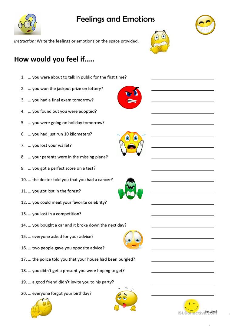 Emotions exercise esl