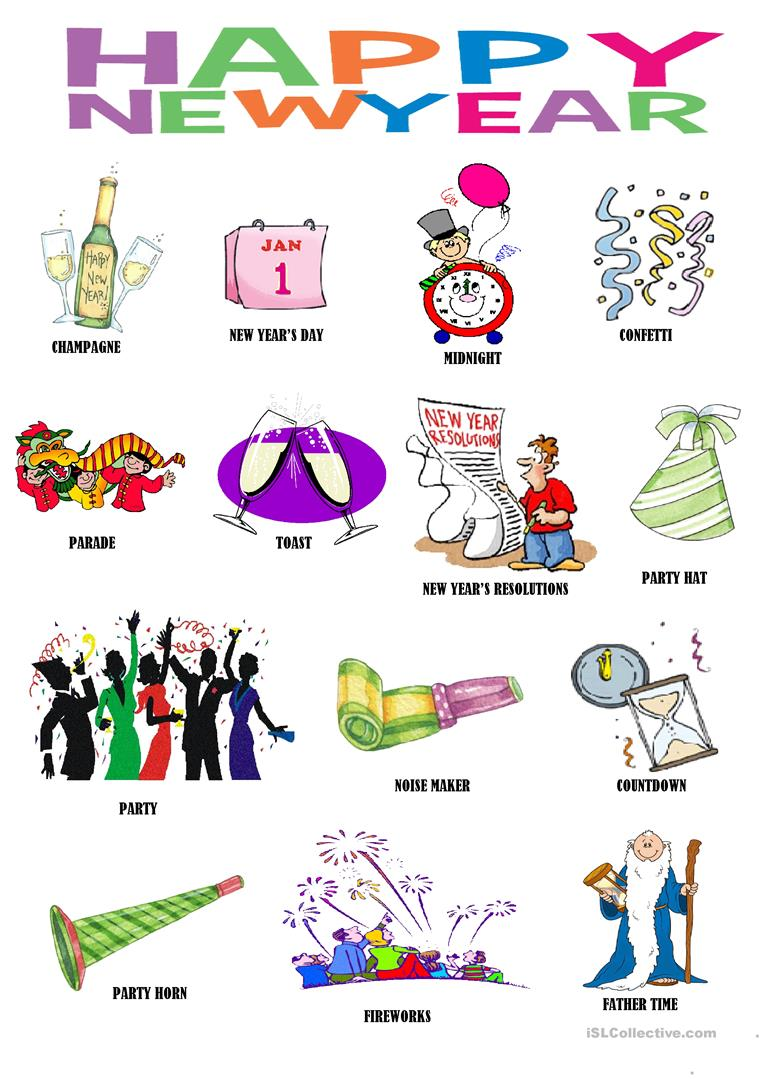 New Year- pictionary worksheet - Free ESL printable ...