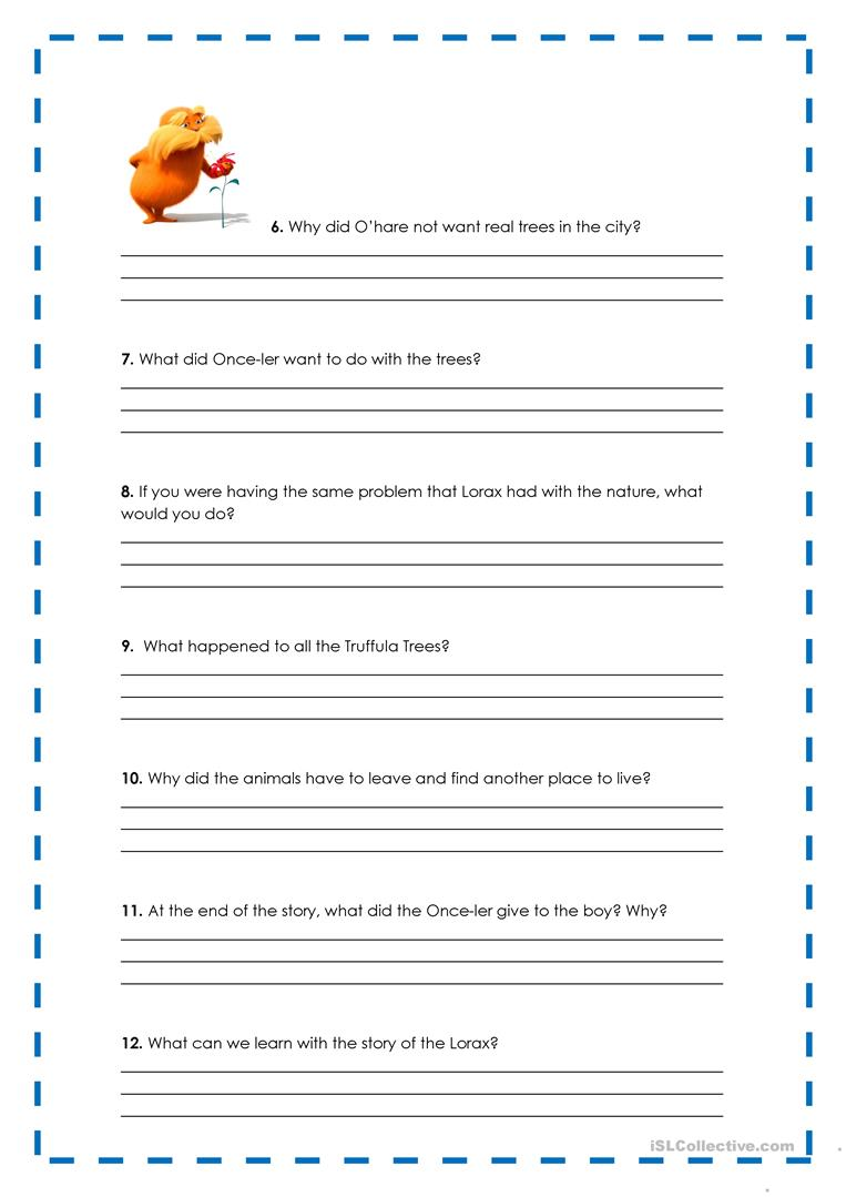 worksheet Lorax Worksheet the lorax activity worksheet free esl printable worksheets full screen
