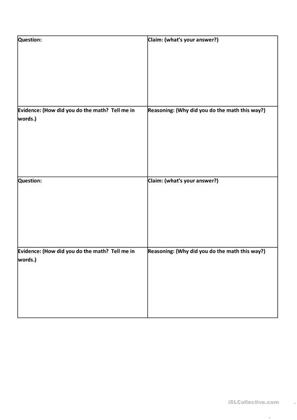 CER graphic organizers