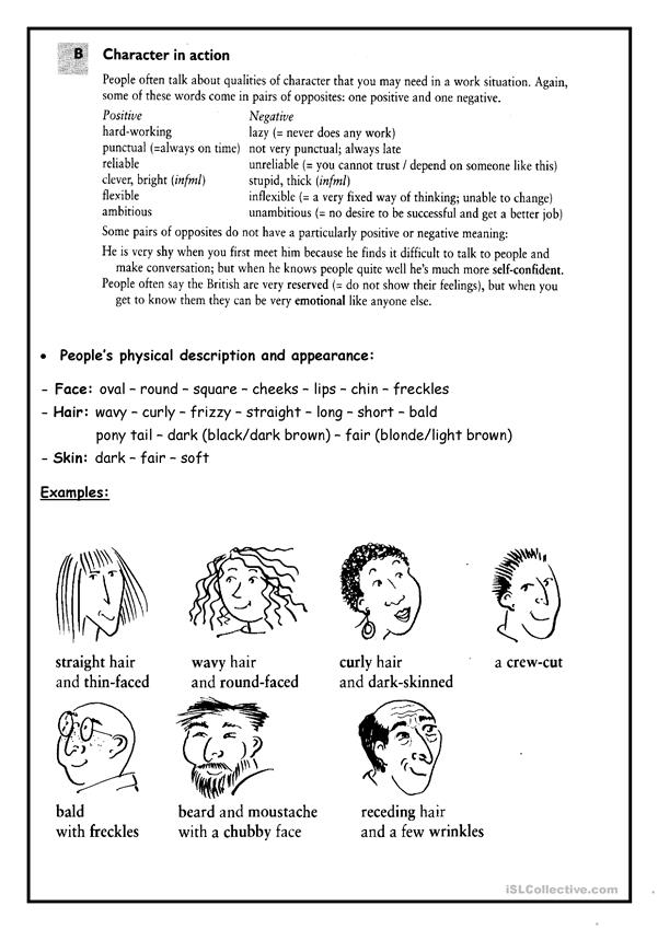 Describing people's appearance
