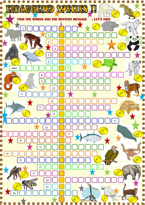 Endangered animals crossword